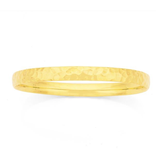 9ct Gold 6x65mm Hollow Hammered Bangle