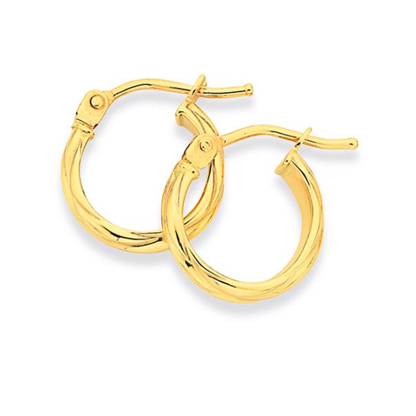9ct Gold 8mm Half Round Twist Hoop Earrings