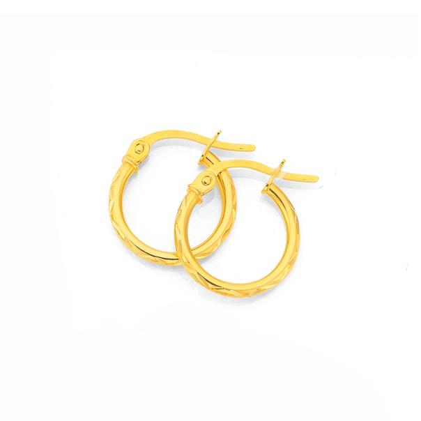 9ct Gold 9mm Patterned Hoop Earrings