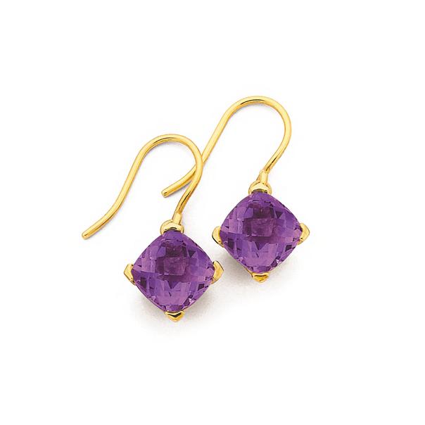 9ct Gold, Amethyst Cushion Cut Drop Earrings