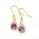9ct Gold Amethyst & Diamond Double Swirl Hook Earrings