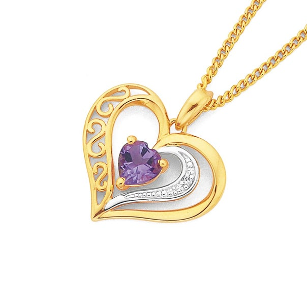 9ct Gold, Amethyst & Diamond Filigree Open Heart Pendant
