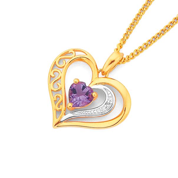 9ct Gold, Amethyst & Diamond Filigree Open Heart Pendant