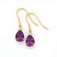 9ct Gold Amethyst & Diamond Hook Earrings