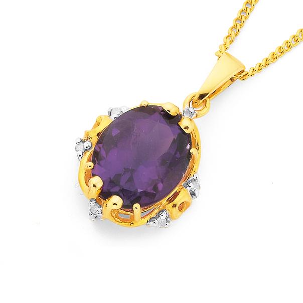 9ct Gold, Amethyst & Diamond Oval Antique Pendant
