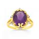9ct Gold, Amethyst & Diamond Oval Antique Ring