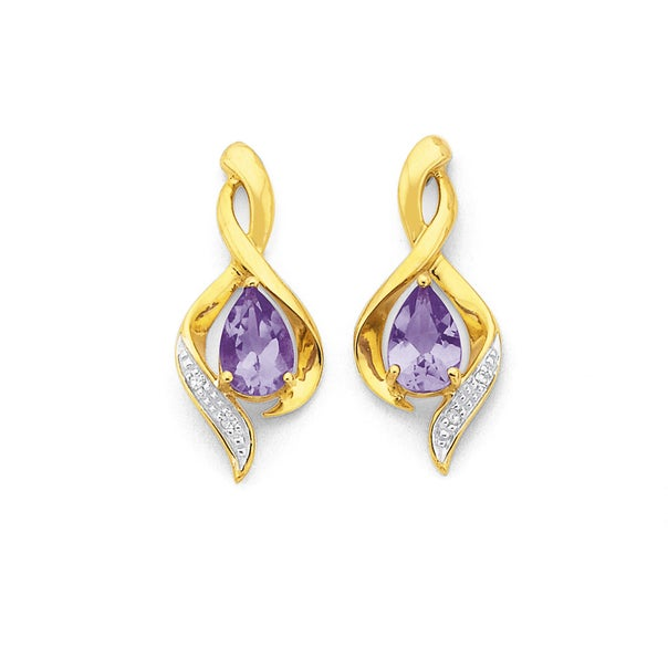 9ct Gold Amethyst & Diamond Pear Cut Swirl Stud Earrings