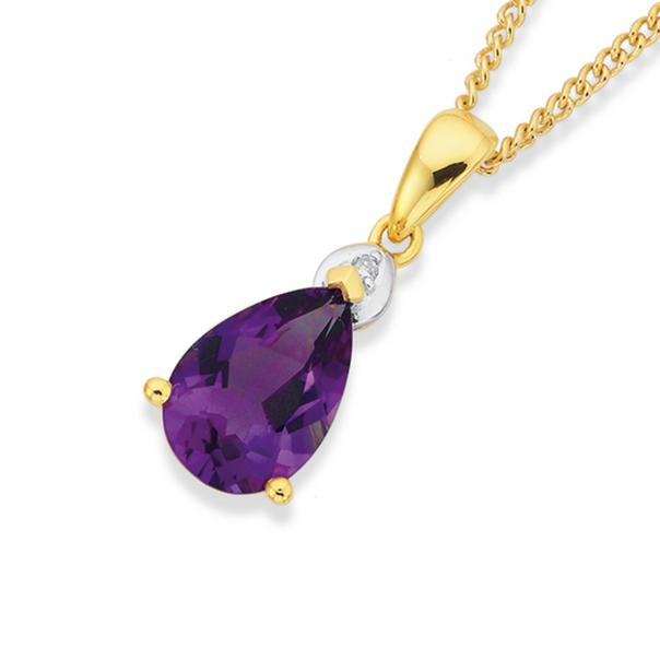 9ct Gold Amethyst & Diamond Pear Pendant