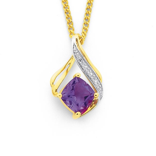9ct Gold, Amethyst & Diamond Pendant