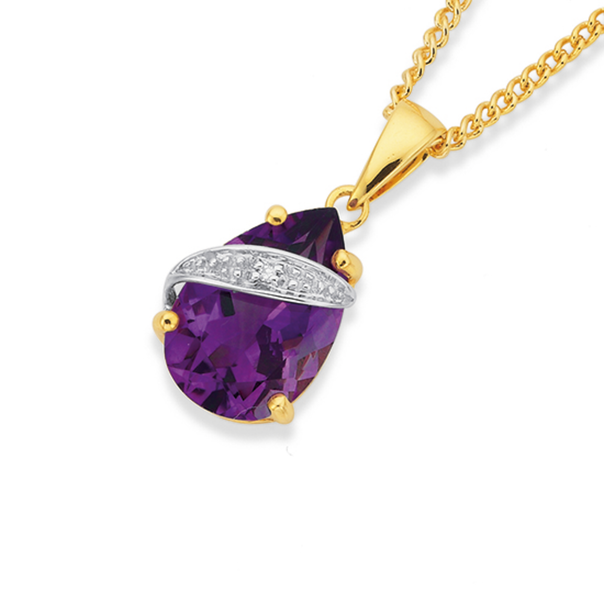 9ct Gold Amethyst & Diamond Pendant