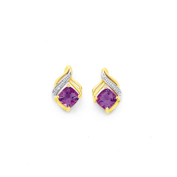9ct Gold, Amethyst & Diamond Stud Earrings