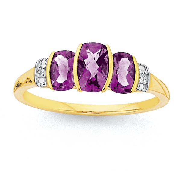 9ct Gold, Amethyst & Diamond Trilogy Ring