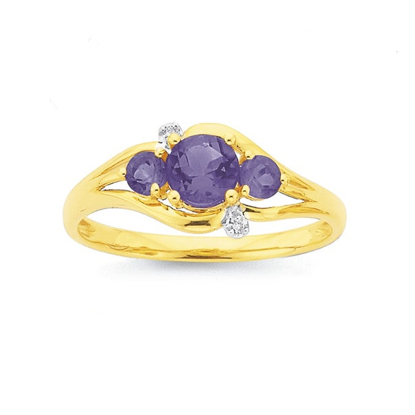 9ct Gold, Amethyst & Diamond Trilogy Ring