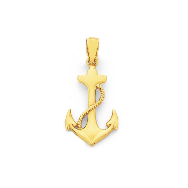 9ct Gold, Anchor with Rope Pendant