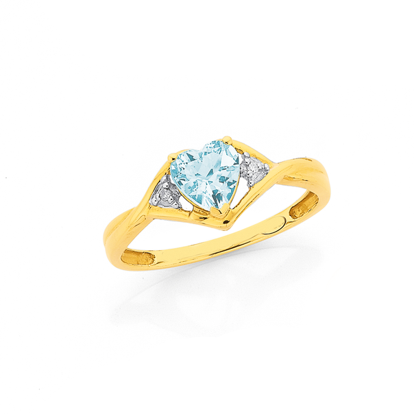 9ct Gold, Aquamarine & Diamond Heart Twist Ring