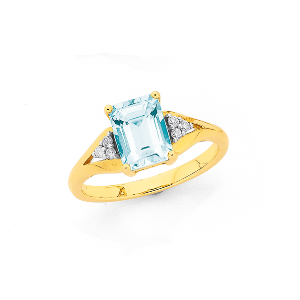9ct Gold Aquamarine & Diamond Ring