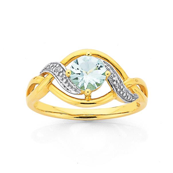 9ct Gold, Aquamarine & Diamond Round Swirl Ring