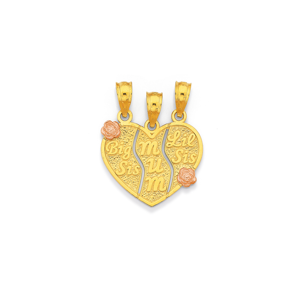 9ct Gold 'Big Sis, Mum, Lil Sis' Share Pendant