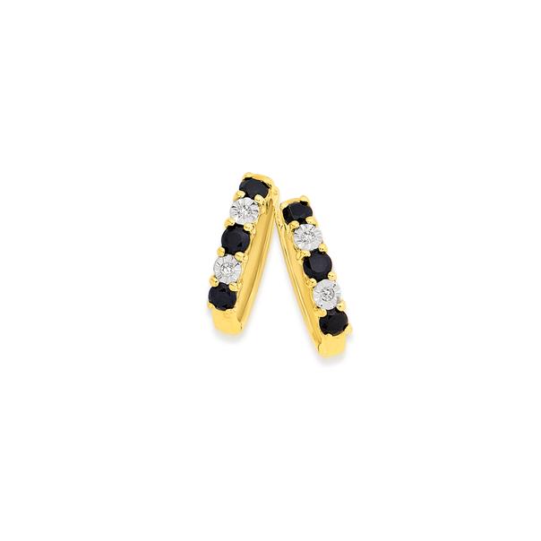 9ct Gold, Black Sapphire & Diamond Huggie Earrings