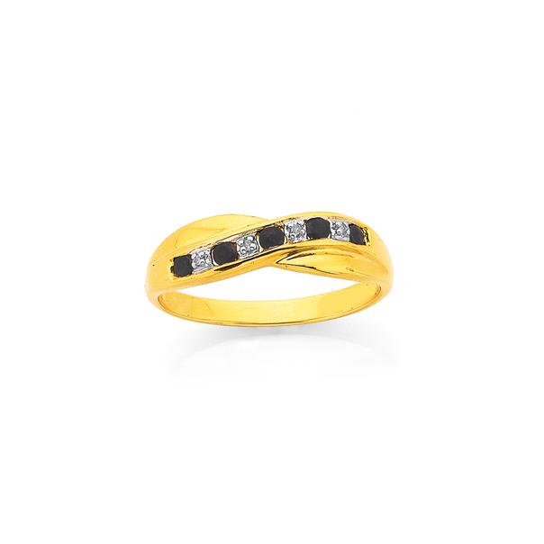 9ct Gold, Black Sapphire & Diamond Ring