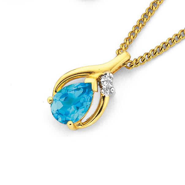 9ct Gold, Blue Topaz & Diamond Pendant
