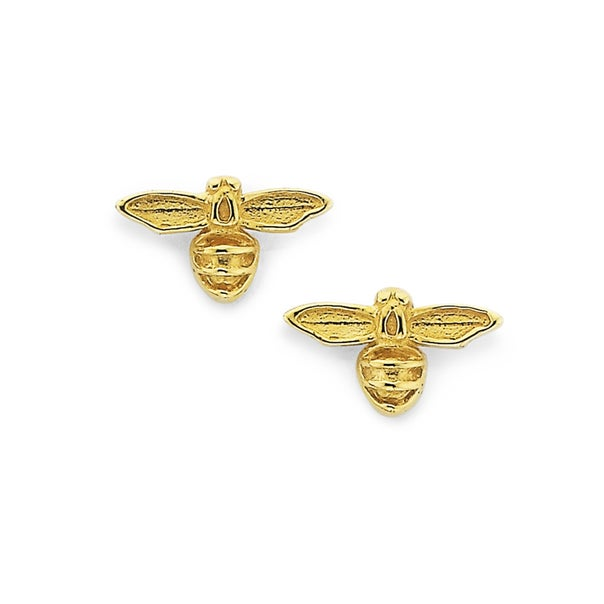 9ct Gold Bumble Bee Stud Earrings