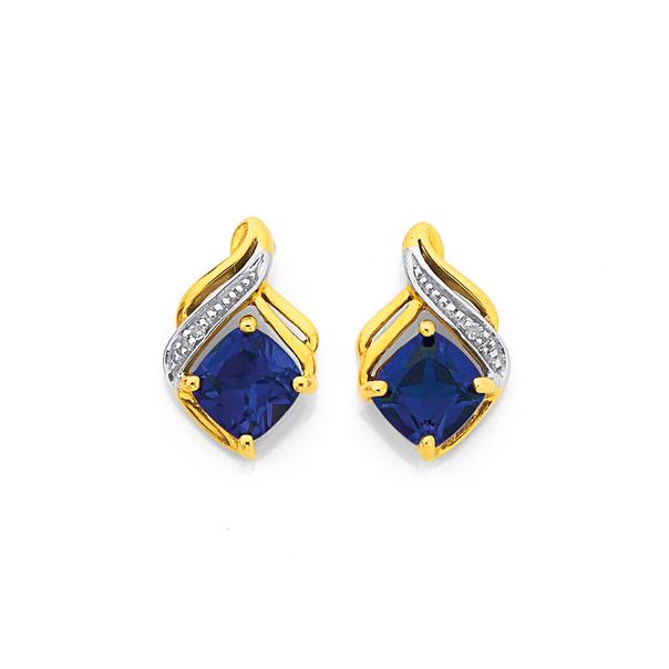 9ct Gold Created Ceylon Sapphire & Diamond Swirl Earrings