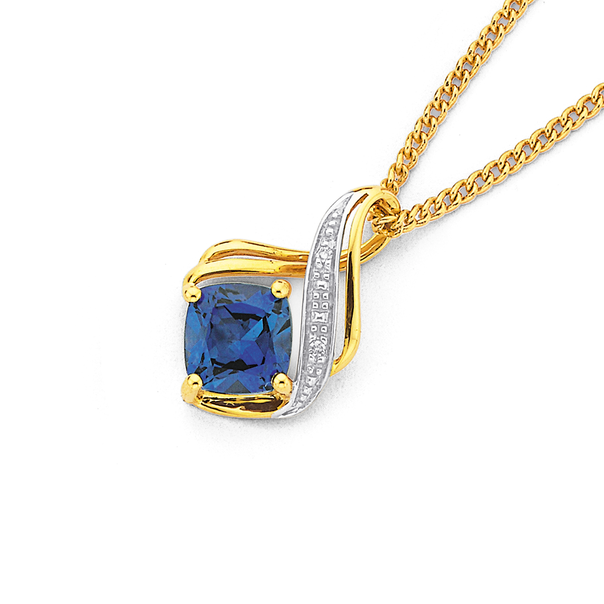 9ct Gold Created Ceylon Sapphire & Diamond Swirl Pendant