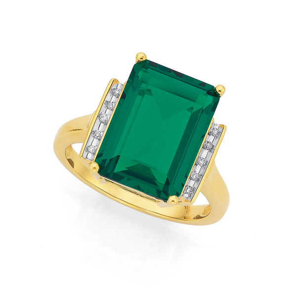 9ct Gold, Created Emerald and Diamond Ring