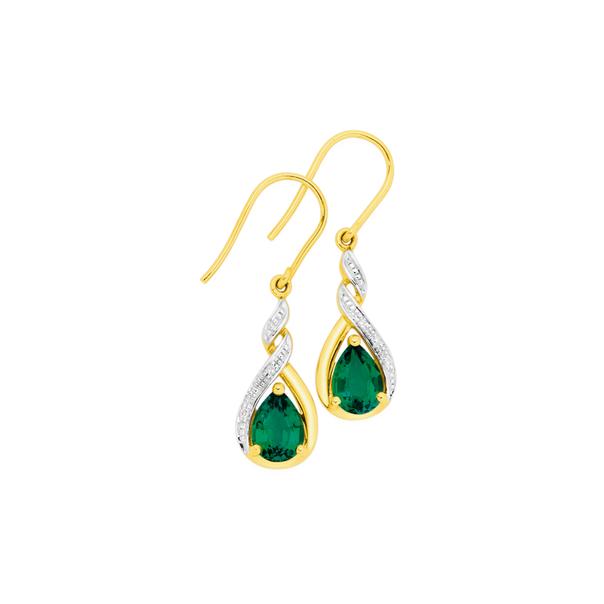 9ct Gold, Created Emerald & Diamond Drop Earrings