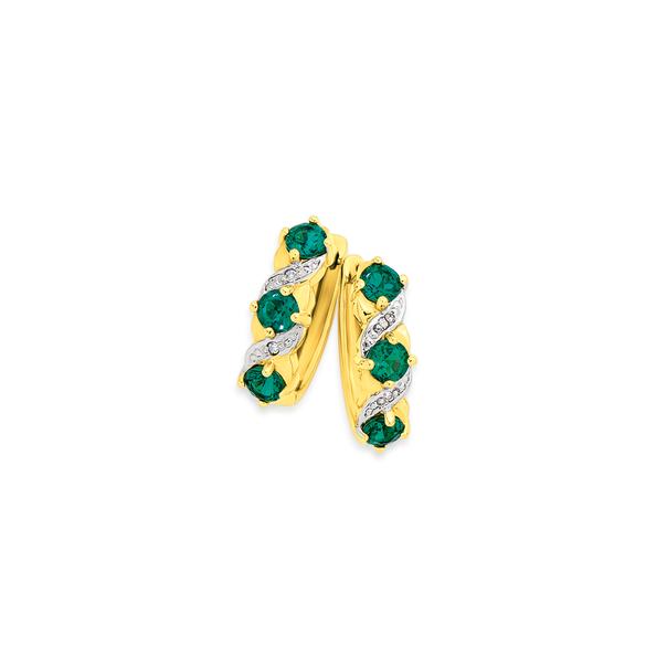 9ct Gold, Created Emerald & Diamond Hoop Earrings