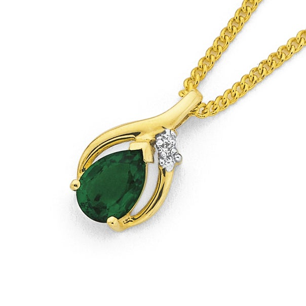 9ct Gold Created Emerald & Diamond Pear Pendant