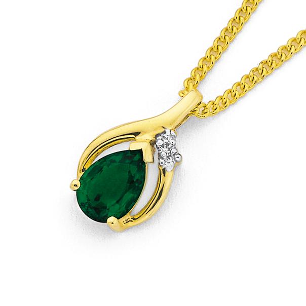 9ct Gold Created Emerald & Diamond Pear Pendant