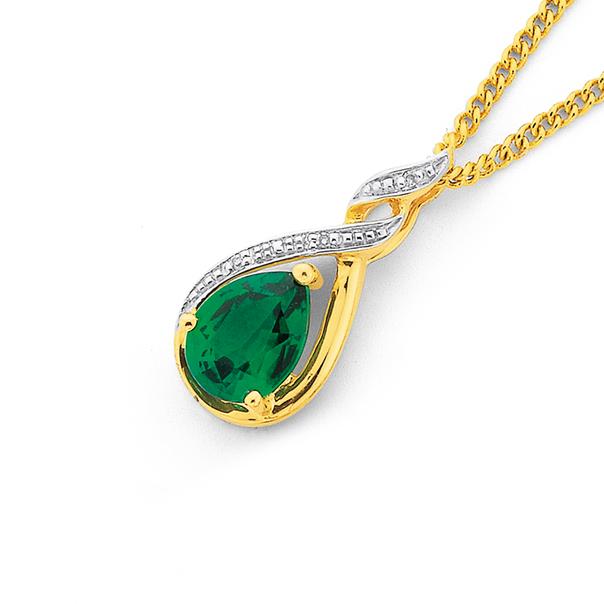 9ct Gold, Created Emerald & Diamond Pendant