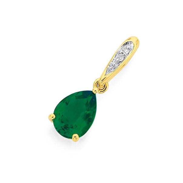 9ct Gold Created Emerald & Diamond Pendant