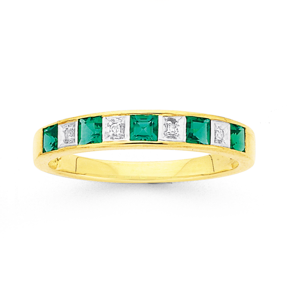 9ct Gold, Created Emerald & Diamond Ring