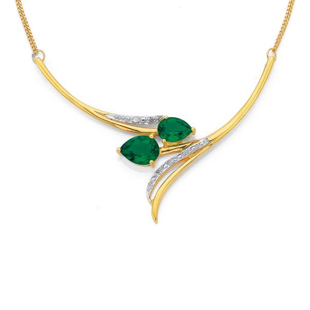 9ct Gold, Created Emerald & Diamond Tulip Necklet