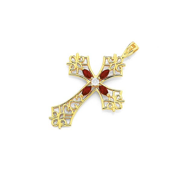 9ct Gold Created Ruby Cross Pendant