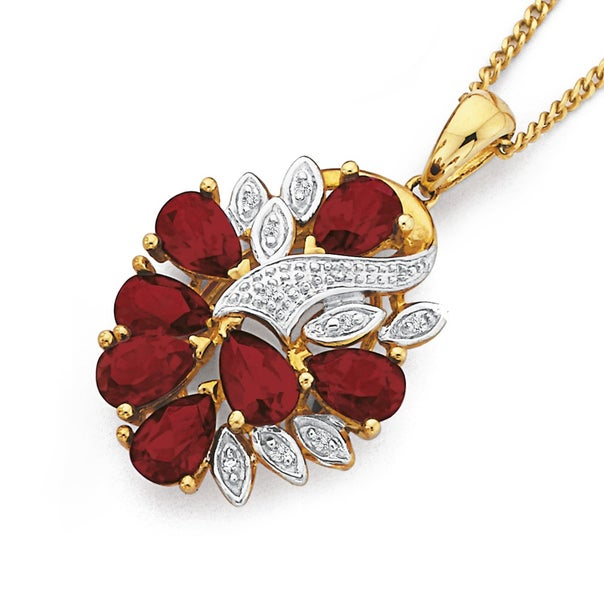 9ct Gold, Created Ruby & Diamond Cluster Pendant