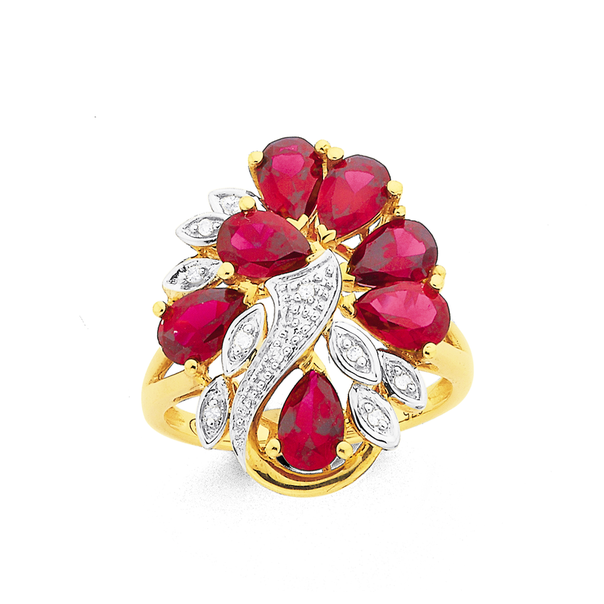 9ct Gold, Created Ruby & Diamond Cluster Ring