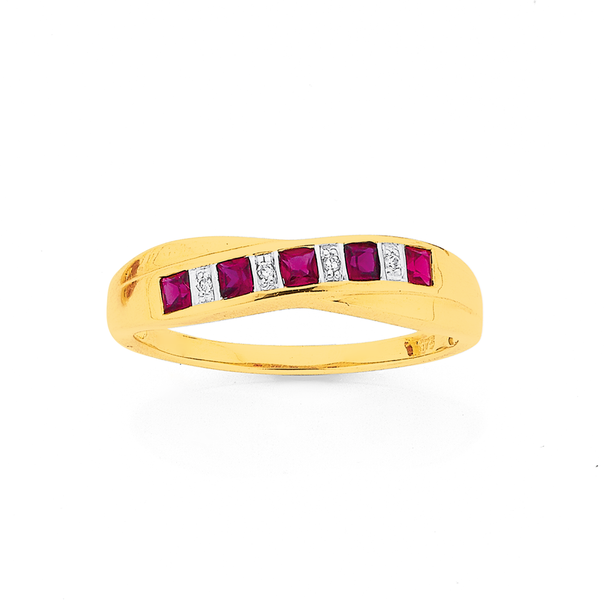 9ct Gold Created Ruby & Diamond Crossover Band