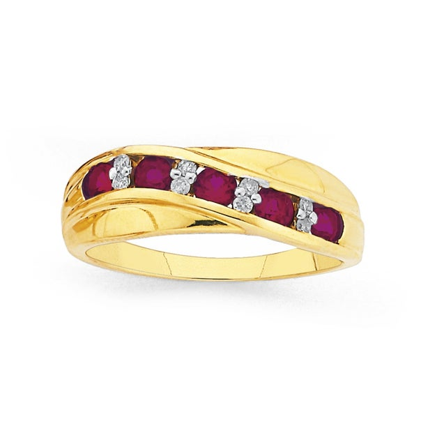 9ct Gold, Created Ruby & Diamond Crossover Ring