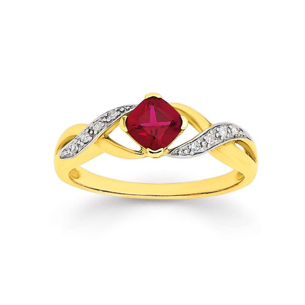 9ct Gold, Created Ruby & Diamond Cushion Cut Ring