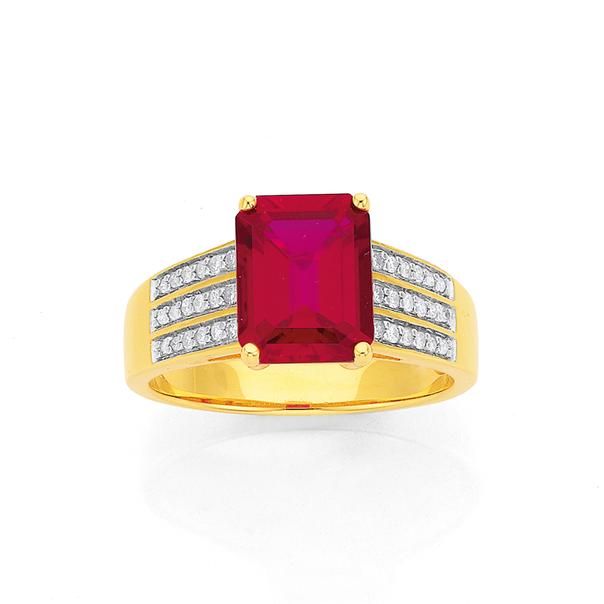 9ct Gold Created Ruby & Diamond Dress Ring