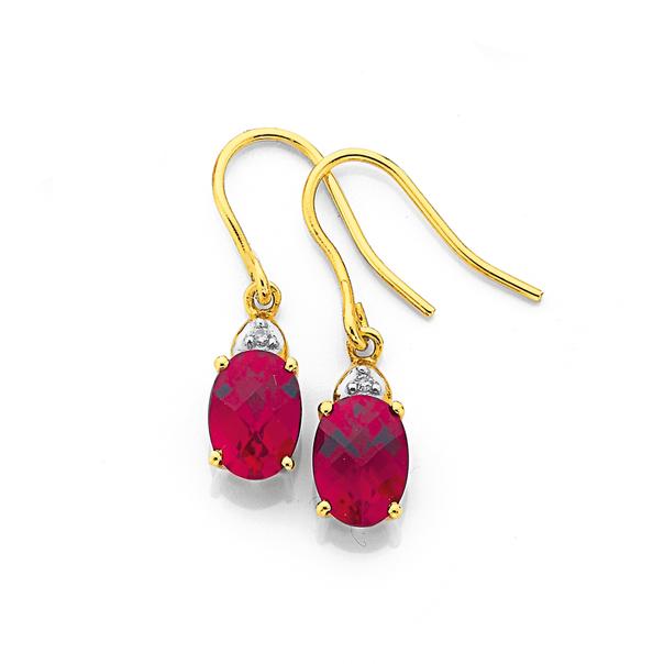 9ct Gold, Created Ruby & Diamond Drop Earrings