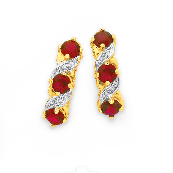 9ct Gold, Created Ruby & Diamond Earrings