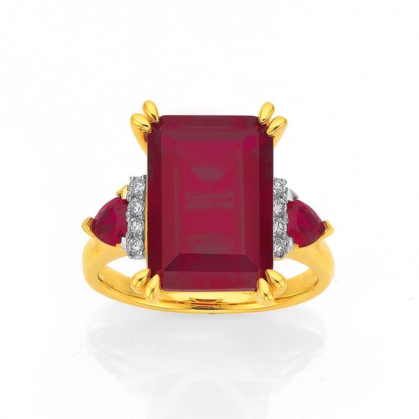 9ct Gold Created Ruby & Diamond Emerald Cut Dress Ring