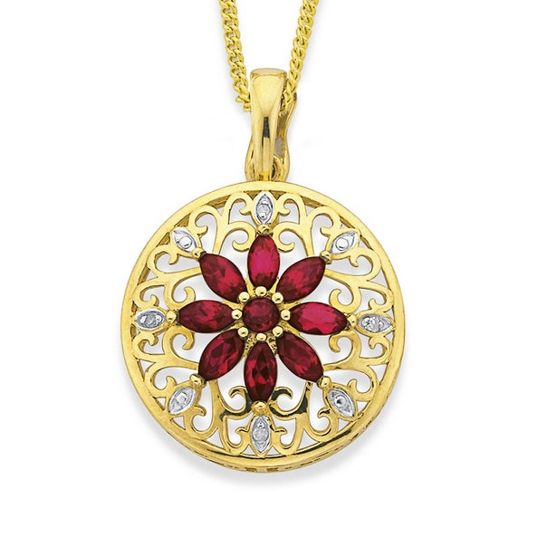 9ct Gold, Created Ruby & Diamond Filigree Flower Enhancer Pendant