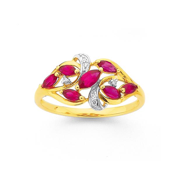 9ct Gold,, Created Ruby & Diamond Marquise Cut Swirl Ring