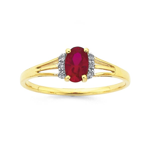 9ct Gold, Created Ruby & Diamond Oval Ring